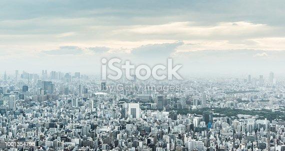 1001353450 istock photo panoramic modern city urban skyline bird eye aerial view under sun & blue sky in Tokyo, Japan 1001354798