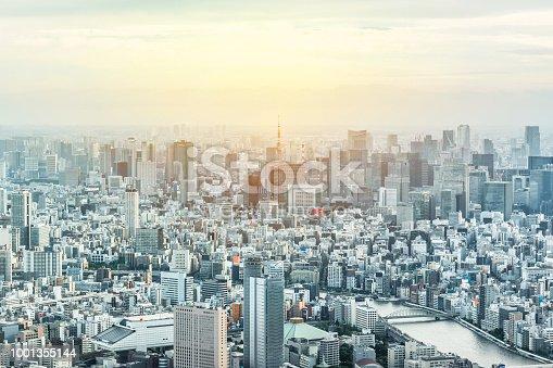 1001353450 istock photo panoramic modern city urban skyline bird eye aerial view under sun & blue sky in Tokyo, Japan 1001355144