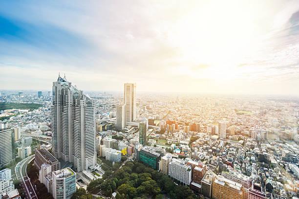 panoramic modern city view in tokyo, japan - shinjuku ward stock photos and pictures