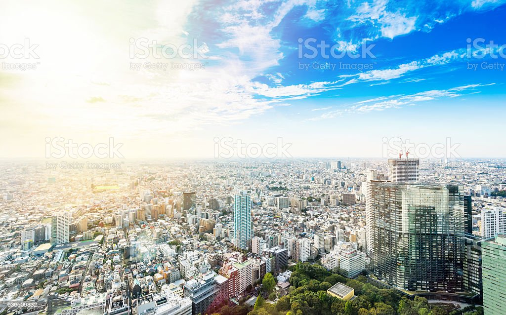 Panoramic modern city view in Tokyo, Japan stock photo