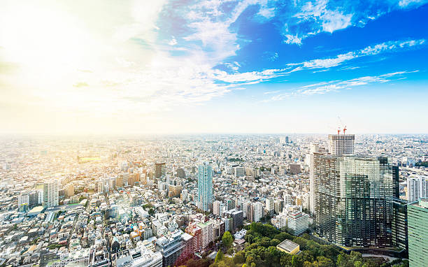 panoramic modern city view in tokyo, japan - 도회지 뉴스 사진 이미지
