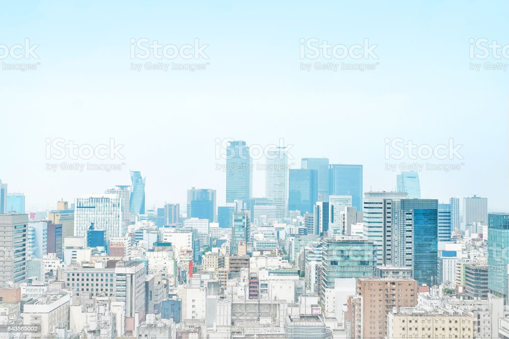 panoramic modern cityscape building bird eye aerial view in Nagoya, Japan mix hand drawn sketch illustration