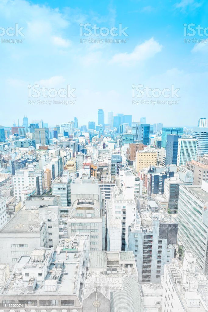 panoramic modern cityscape building bird eye aerial view in Nagoya, Japan mix hand drawn sketch illustration stock photo