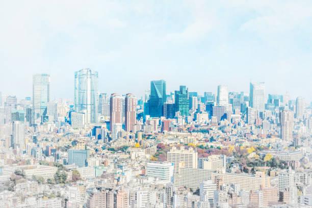Panorama modernen Stadtbild in Japan Mix Skizze und Aquarell Bild Effekt – Foto