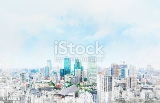 istock panoramic modern cityscape in Tokyo, Japan. Mix hand drawn sketch illustration 841883576