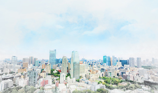 panoramic modern cityscape in Tokyo, Japan. Mix hand drawn sketch illustration