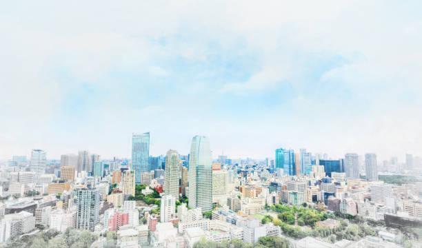 東京のパノラマのモダンな街並み。手描きのスケッチ図をミックスします。 ストックフォト