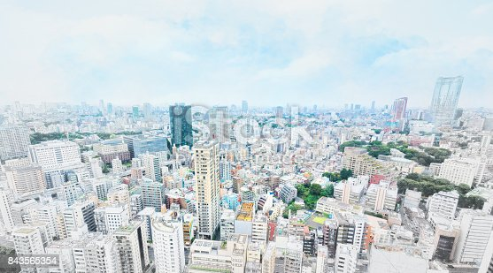 istock panoramic modern cityscape in Tokyo, Japan. Mix hand drawn sketch illustration 843565354