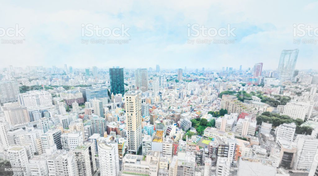 panoramic modern cityscape in Tokyo, Japan. Mix hand drawn sketch illustration stock photo