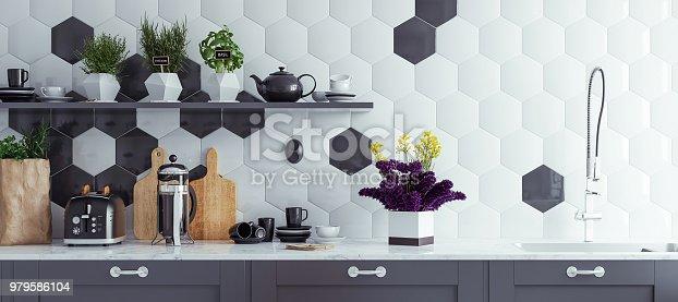 istock Panoramic modern kitchen interior background 979586104