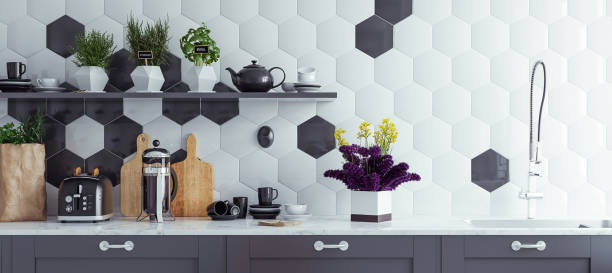 panoramic modern kitchen interior background - tile stock photos and pictures