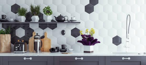 panoramautsikt över moderna kök interiör bakgrund - kök bildbanksfoton och bilder