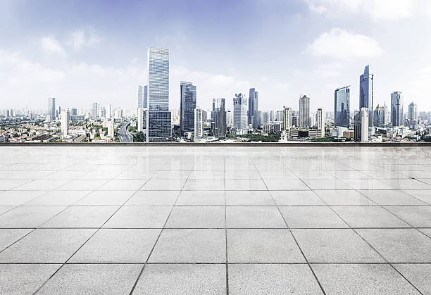 panoramic  modern skyline and buildings with empty square. stock photo