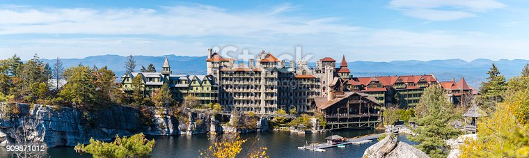 Mohonk Lake, NY, USA - October 19, 2017: Visitors enjoy a warm fall afternoon on Picturesque Mohonk Lake in the Hudson Valley in the Fall of 2017.