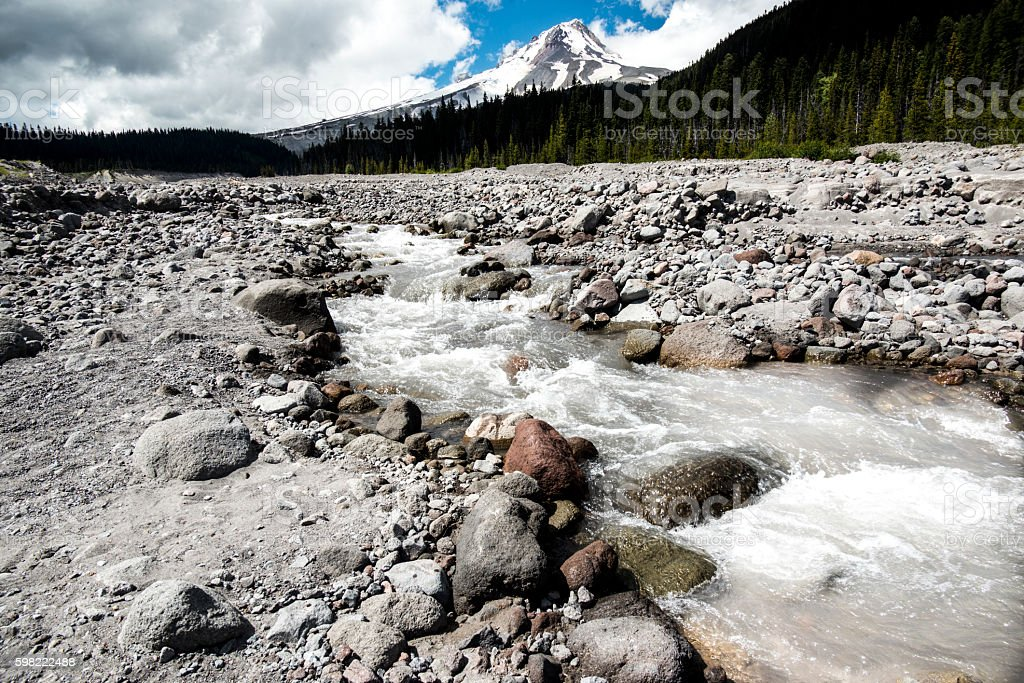 Panoramic Mount Hood, Hood River Head Waters, Rockey River Bed stock photo