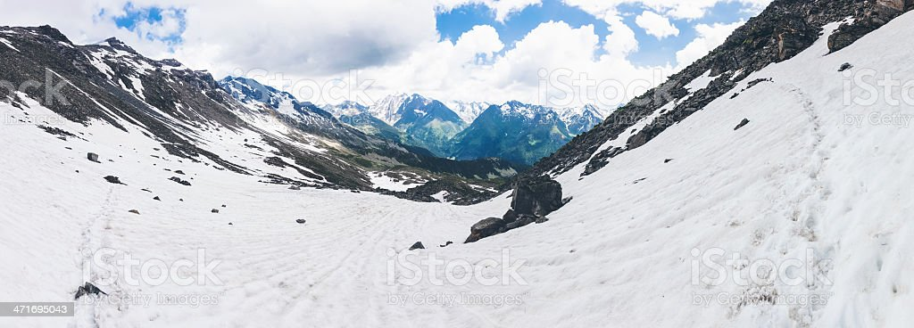 Panoramic Mountain Landscape with Snow royalty-free stock photo