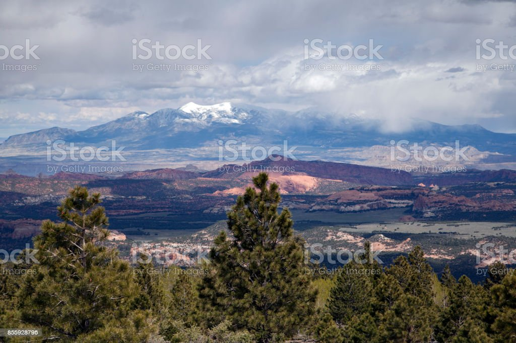 Panoramic mountain view from the Million Dollar Road, Highway 24 in Utah near Capitol Reef National Park stock photo