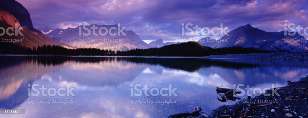Panoramic Mountain with Dramatic Light stock photo