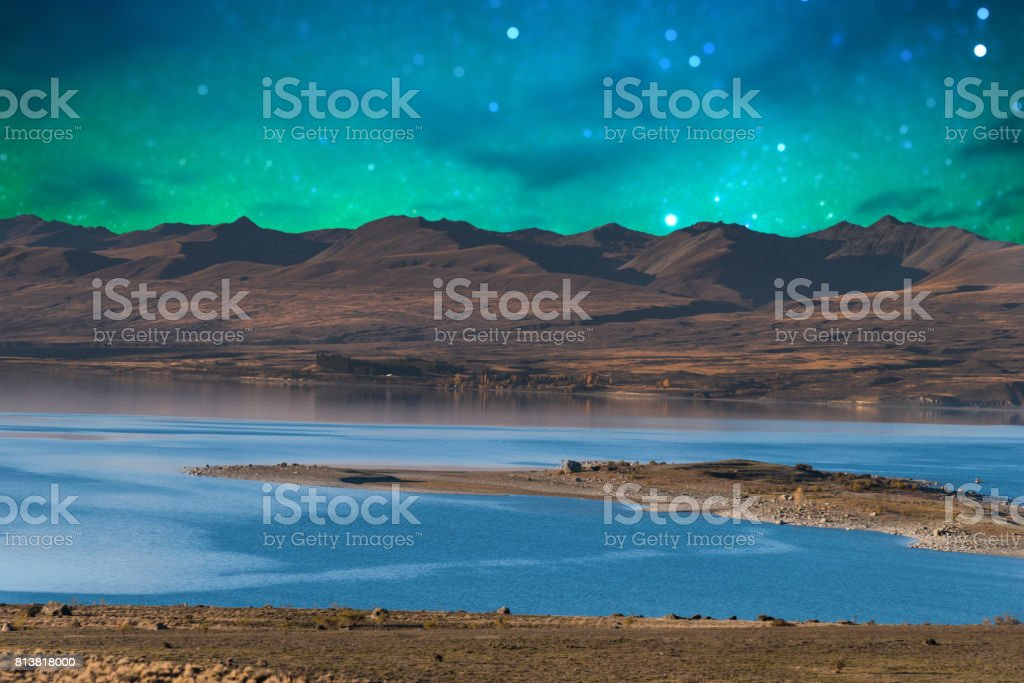 Panoramic nature landscape in south island New Zealand with milky way stock photo