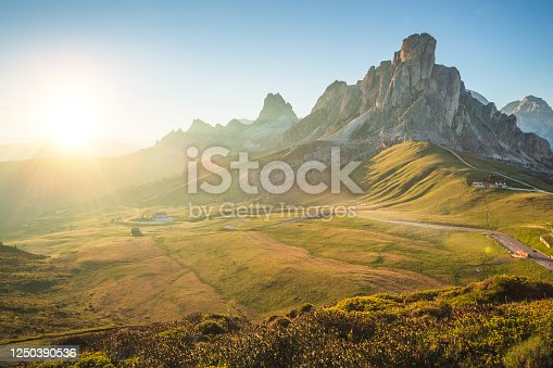 istock Panoramic nature view from mountain sunrise Scenic over Famous Pass Giau Dolomites alps Italy landscape 1250390536