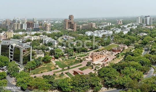 Panoramic aerial view of Green central New Delhi around Jantar Mantar ,New Delhi India.