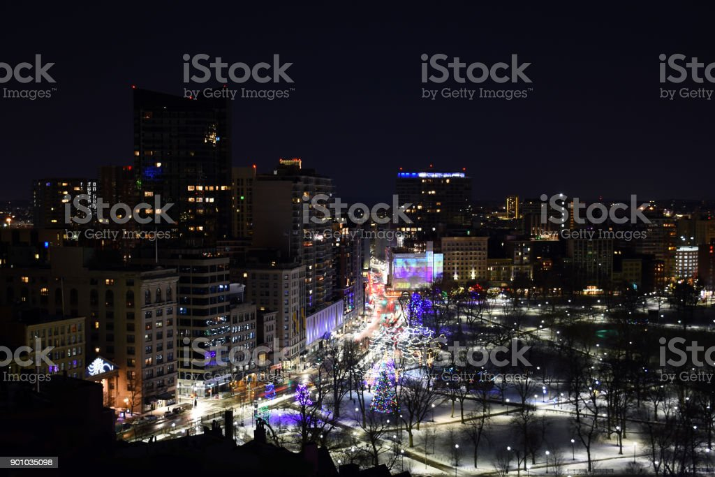 Panoramic night photo of downtown Boston Massachusetts decorated for the holiday season stock photo