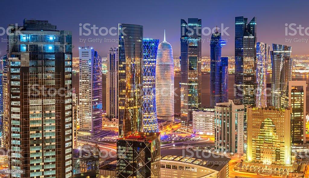 Panoramic Night View of Doha City Skyline, Qatar stock photo