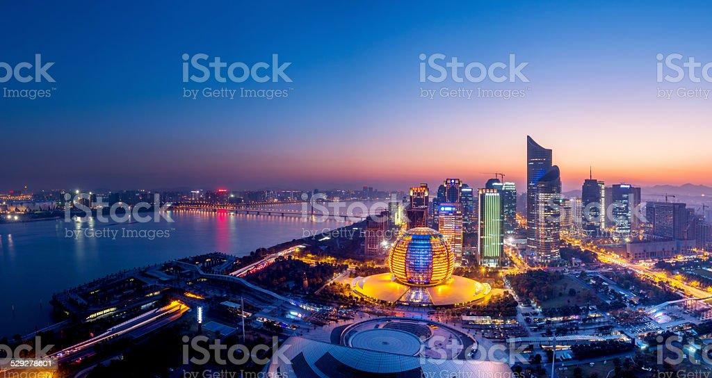 panoramic night view of Hangzhou, china stock photo
