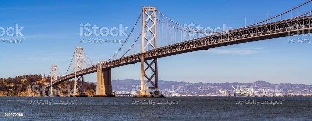 panoramic Oakland Bay Bridge to San Francisco , California Suspension bridge over the Bay Area royalty-free stock photo