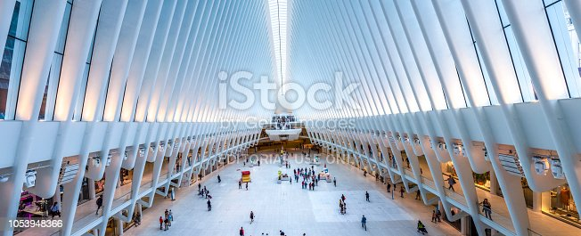 Inside of World Trade Center Transportation Hub: World Trade Center Transportation Hub is the a large transit for PATH rail service and retail complex