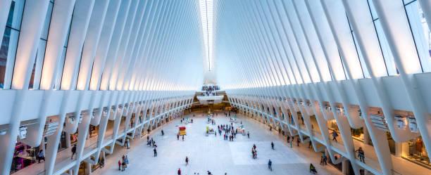 Panoramic oculus Inside of World Trade Center Transportation Hub new york stock photo