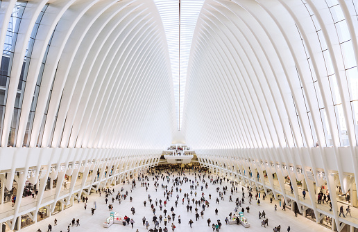 New York, United States - October 6, 2017:  Inside of World Trade Center Transportation Hub: World Trade Center Transportation Hub is the a large transit for PATH rail service and retail complex