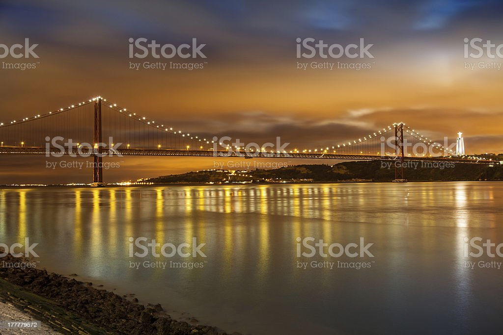 Panoramic of 25 de Abril bridge at night, Lisboa stock photo