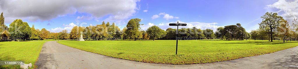Panoramic of a Park in Manchester-related images below royalty-free stock photo