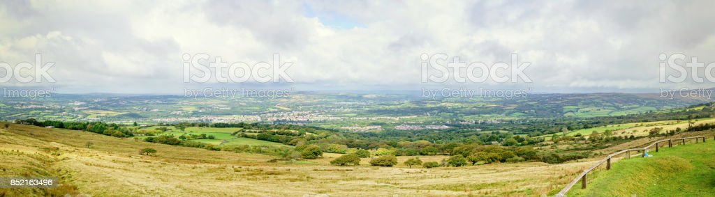 Panoramic of Amman Valley and Black Mountains stock photo