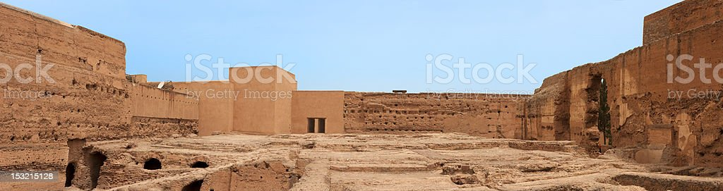 Panoramic of ancient ruins in the El Badi Palace, Marrakech. stock photo