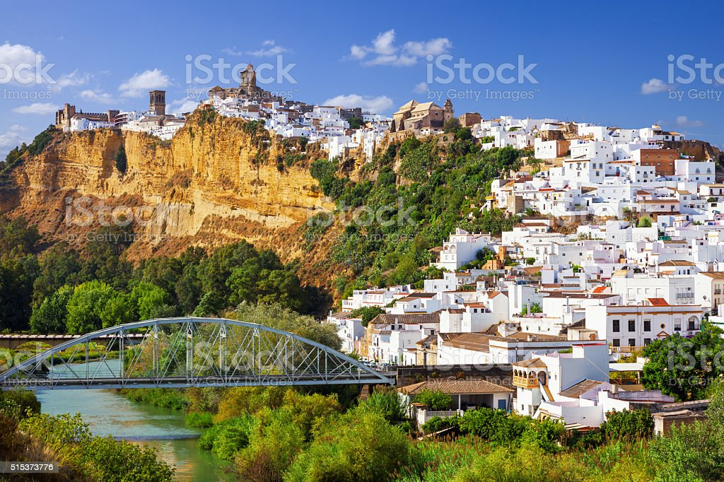 Panoramic of Arcos de la Frontera, Spain stock photo