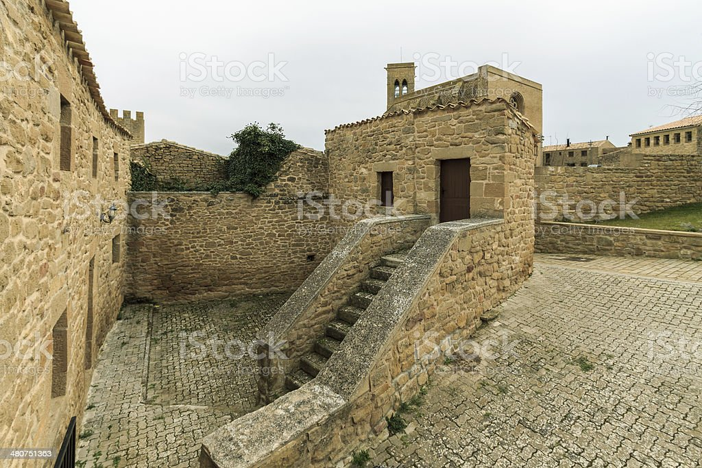 Panoramic of Artajona stock photo