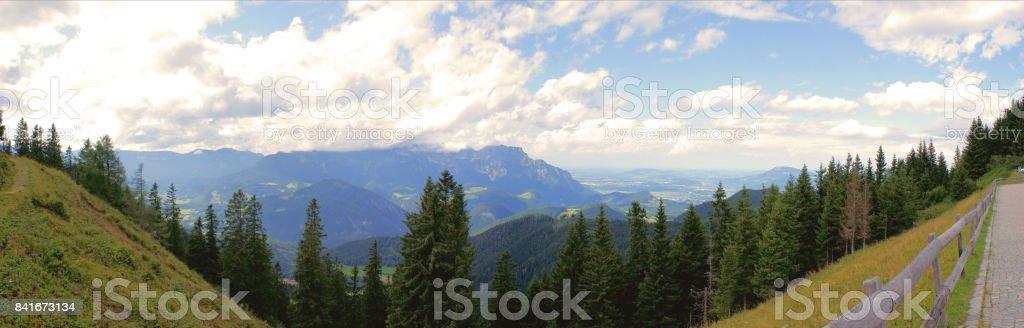 Panoramic of Bavarian mountain world stock photo