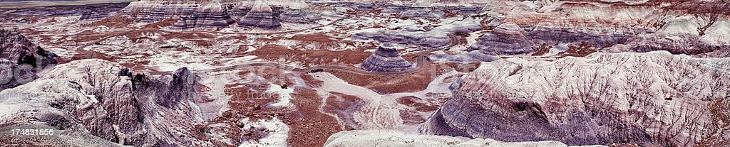 Panoramic of Blue Mesa - Petrified Forest National Park royalty-free stock photo