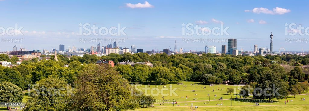 Panoramic of Canary Wharf, City of London, The Shard, BT Tower and London Eye at day stock photo