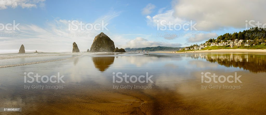 XXXL: Panoramic of Cannon Beach, Oregon stock photo
