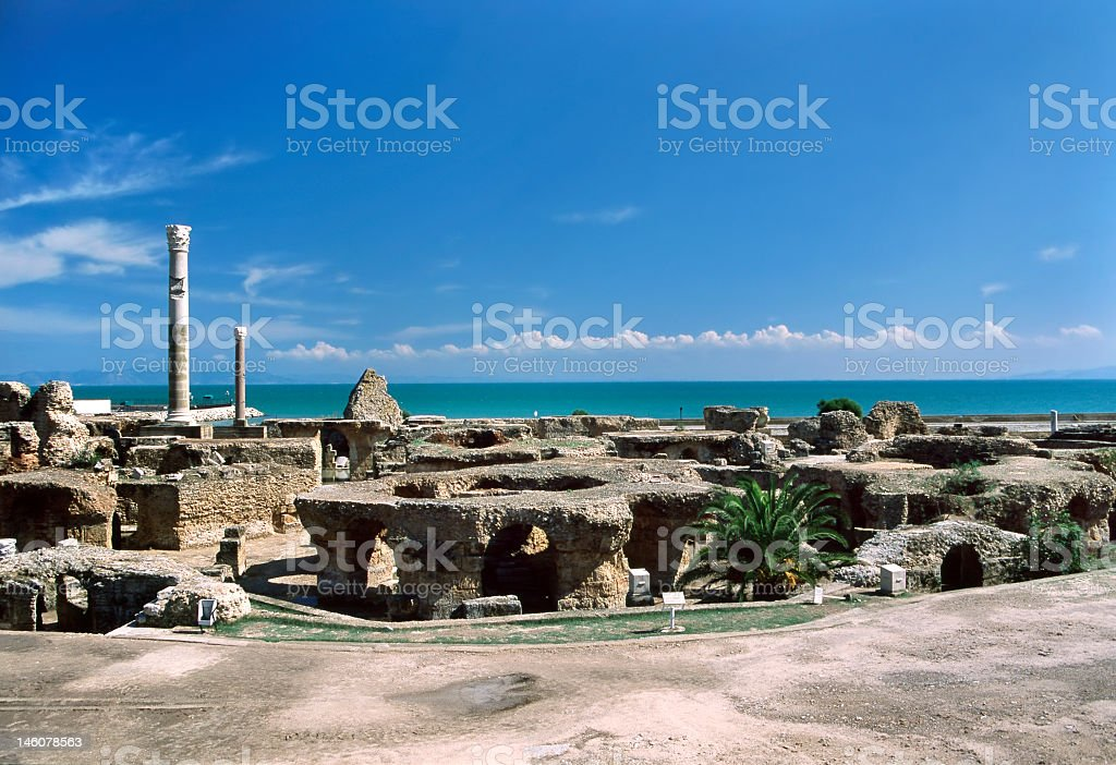 Panoramic of Cathage baths at Antoninus Pius stock photo