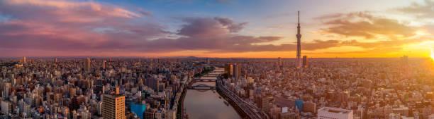 Panorama der Stadt Tokio im Morgengrauen, Japan – Foto
