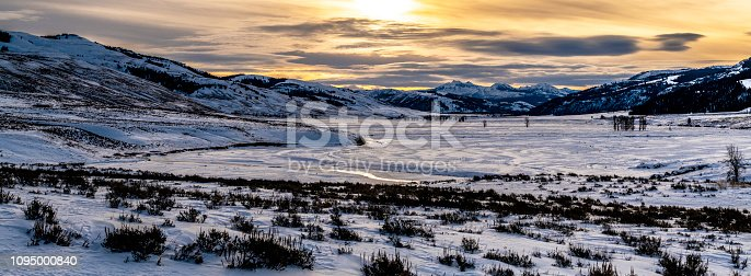 Snow covered Lamar Valley winter panoramic