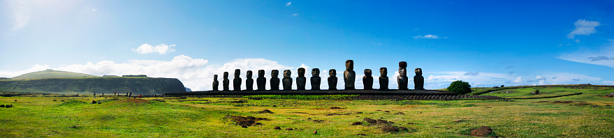 Panoramic of the Moai at Ahu Tongariki on Easter Island, Chile. Multiple files stitched.