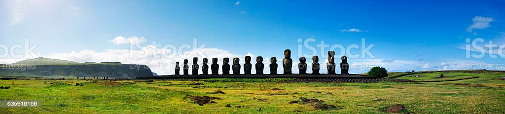 Panoramic of Moai at Ahu Tongariki on Easter Island, Chile stock photo