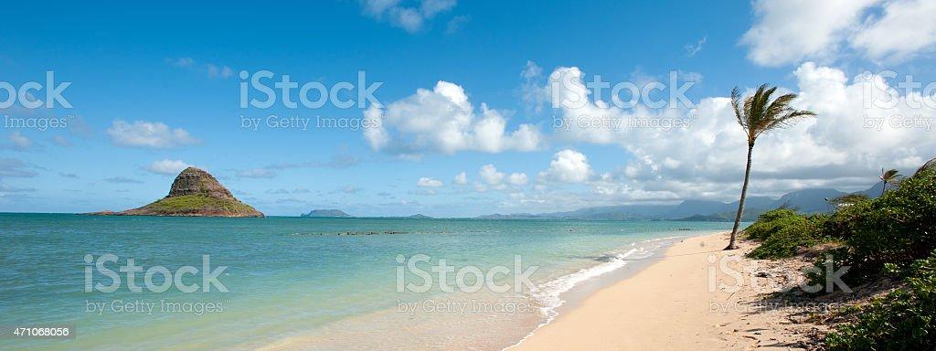 Panoramic of MoKoli'i Island, Chinaman's Hat, Oahu, Hawaii stock photo