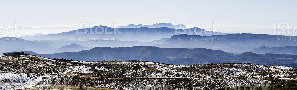 panoramic of montserrat stock photo