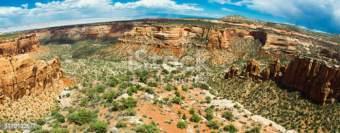 Panoramic shot of Monument Canyon at Colorado National Monument in Colorado, USA. Multiple files stitched.